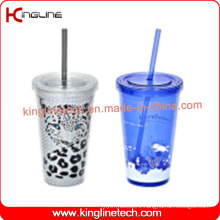 450ml double wall straw cup(KL-SC111)