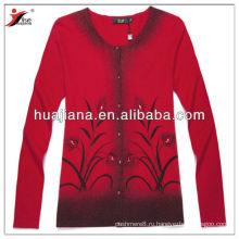 мода печать женщины кашемир кардиган/превосходное antipilling производительность