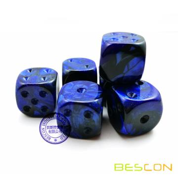 Bescon Unpainted Gemini 16MM Game Dice with Blank 6th Side, 3 Assorted Color Set of 18pcs, Two Tone Dice