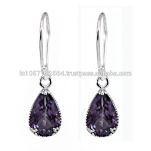 Natural Amethyst Gemstone Silver Purity 925 Sterling Wedding Earrings Dangle Jewelry