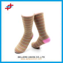 Polyester stripe sock,custom logo design ,colored dress socks