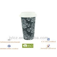 Caneca de café de parede dupla cerâmica 280cc com tampa de silicone