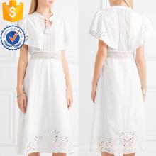 Blanc Dentelle Coton Manches Courtes Brodé Summer Midi Dress Fabrication En Gros Mode Femmes Vêtements (TA0270D)