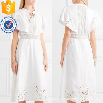 Rendas brancas de algodão de manga curta bordado verão Midi Dress Fabricação de roupas de moda por atacado das mulheres (TA0270D)