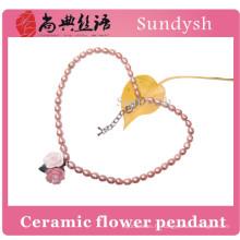 Mode en céramique fleur pendentif fait main blanc baroque cultivé réel perle d'eau douce collier prix