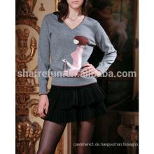 2014 benutzerdefinierte viele stile luxus 100% reine kaschmir intarsien pullover