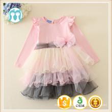 el más nuevo 100 muchachas de los niños del algodón smocked vestido del diseño del vestido con 5layers la colmena