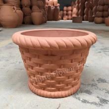 Macetas de arcilla roja hechas a mano para decoraciones de jardín