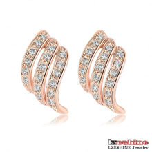Rose Gold Plated austríacos cristais Stud Earrings (ER0106-A)