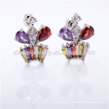 brides gold gemstone earring plated zircon jewelry Rhodium plated jewelry is your good pick