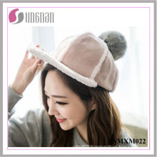 Fashion Warm Hip Hop Hat Plush Fur Ball Flat-Brimmed Cap (SNMXM022)