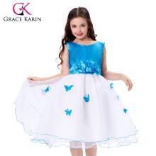 Grace Karin sin mangas vestido de niña de flores baratos blanco y azul CL007552-1