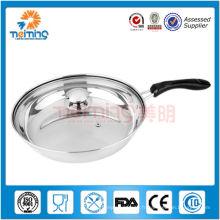 Poêle à frire en acier inoxydable à double fond de 30 cm avec couvercle en verre