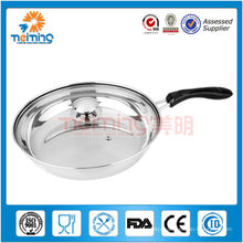 30cm double bottom stainless steel frying pan with glass lid