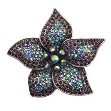 Moda strass grande flor fantasia broche de prata