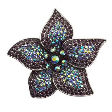 Mode Strass Große Blume Fantasy Silber Brosche