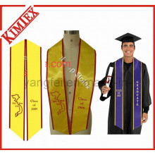 University Satin Fabric Embroidery Logo Graduation Stole Sash