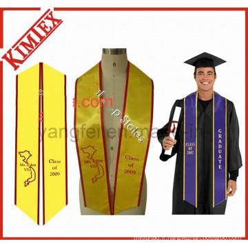 Logo de broderie en tissu satiné universitaire Graduate Stole Sash