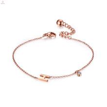 Bracelete inicial de cristal personalizado Rose Gold letra alfabeto H