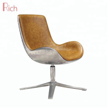 Commercial Used Metal Leisure chair Leather Cover Aluminum Swivel Chair