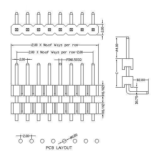 2.0 mm Pin Header Single Row Double Plastic Angle Type