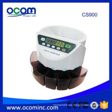 CS900 para la máquina electrónica automática del clasificador de la moneda de Euro Philipine México y de otros países monedas con 8 enchufes