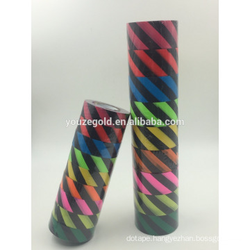 "PVC Fluorescent Flagging tape black in color with yellow 1/2 "" diagonal stripes every 1/2"""