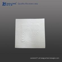 Muito Design Onda De Água Fine Bone China Placas De Alta Qualidade De Quadrado Branco, Cerâmica Decore Dinner Plate Com Custom Design