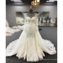 Vestidos De Novia Vestido de novia con cola de pescado, perlas, apliques de encaje, vestido de novia de sirena sexy