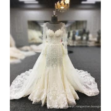 Vestidos De Novia Vestido De Noiva Peixe Cauda Pérolas Frisado Lace Apliques Sexy Sereia Vestido De Noiva