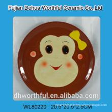 Plaque en céramique ronde avec design de singe