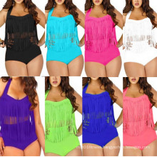 Plus Size High Waist Tassel Swimwear (53046)