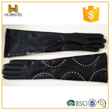 elbow length customized ladies dress long leather sheepskin gloves