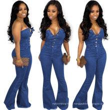 Best Selling Fashion Slim Button Jumpsuit Women off Shoulder Denim Jeans Romper Woman Style Jumpsuits Rompers