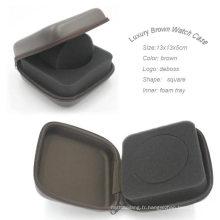 Boîte à montres carrée de luxe en cuir PU imperméable dur