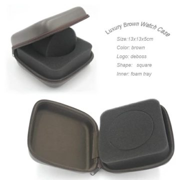 Luxury hard waterproof pu leather square watch box