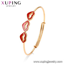 52028 Xuping Jewelry fashion Lipsticks diseño de brazalete de oro simple
