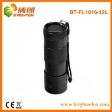 China de fábrica de suministro de aluminio de mano de metal negro 12 llevó la antorcha, 12 llevó buena linterna con correa de muñeca