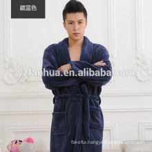 Warm Navy Flannel Fleece Men's Bathrobe for promotion