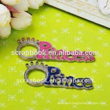2015 Christmas gift glittering painted princess charms metal charm