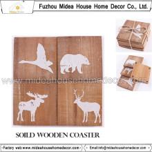 Venta al por mayor novedad de vajilla productos duraderos 12 * 12 cm de madera Coasters