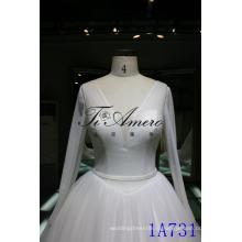 2016 тюль рюшами Sash бальное платье свадебное платье бальное платье Модест V-образным вырезом с длинным рукавом свадебное платье 2016