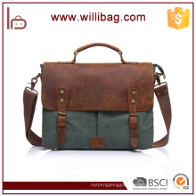 Factories Sale Genuine Leather Handbags Canvas Computer Bags File Messenger Bags