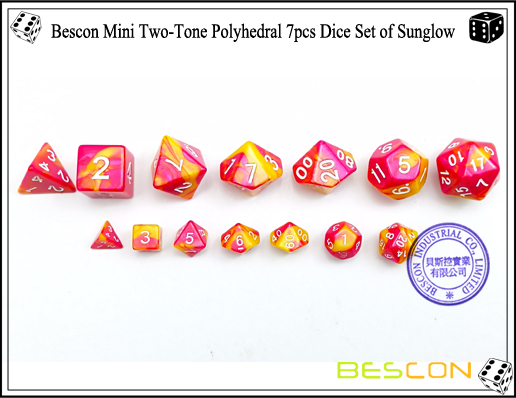 Bescon Mini Two-Tone Polyhedral 7pcs Dice Set of Sunglow-3