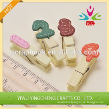 home dectration number clips wood clip paper clip