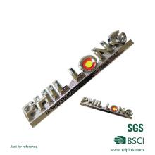 Placa de nomeação de etiqueta de carro de esmalte macio polido em liga de zinco (XDP-01)