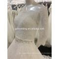 Amostras reais Ball Gown Off-Shoulder 3/4 Mangas Beading Cintura Lace Appliqued Ivory Plus Size Vestido de casamento muçulmano A090