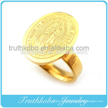 Etched Tone Vacuum Plating Gold High Quality Stainless Steel Religious Ring With Praying Mother Mary Image Design For Catholic