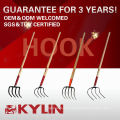 """Garden Tool Hay Fork With 54"""" Ash Handle Refuse Hook"""