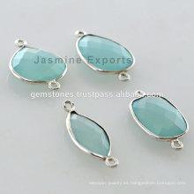 925 plata esterlina Bezl Gemstone Connector para las mujeres suministros de la joyería